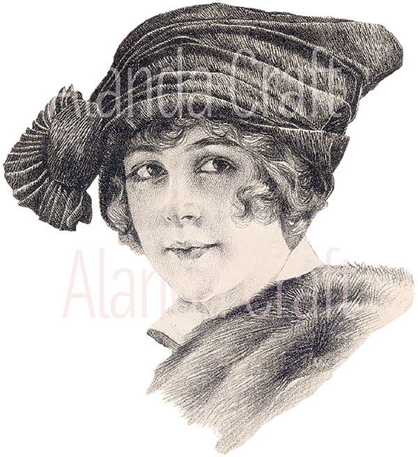 vintage lady with vintage hat
