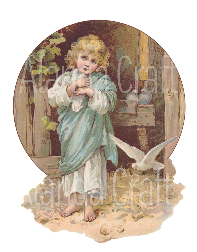 vintage--child-with-doves